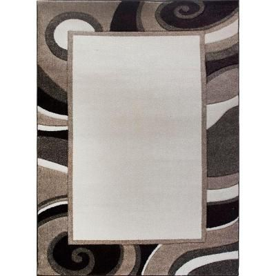 Home Dynamix Bazaar Wavy Border Cream/Brown 5 ft. 2 in. x 7 ft. 2 in. Indoor…