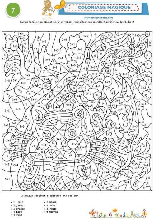 Coloriage magique chiffre et additions 7                                                                                                                                                                                 Plus