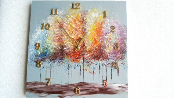 Wall clock tree acrylic painting  Home and от ClockArtVintage