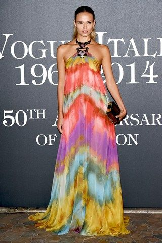 Beautiful and colorful rainbow dyed relaxed dress - Milan Fashion Week parties: Natasha Poly in a Pucci gown
