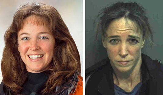 Astronaut Lisa Nowak in her official NASA photo (left) and in her mug shot, Feb. 5, 2007. (Photos: NASA, left; Orange County Jail)