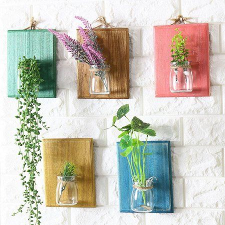 Creative Home Wall Decoration, Wooden Wall Hanging Plant Terrarium Glass Planter Container Specification:Pink
