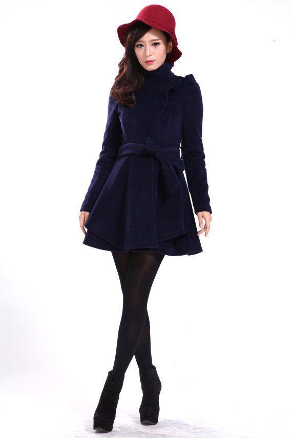 High Collar Women Coat Winter Wool Coat Wool Dress In Navy Blue Custom Made -NK 002