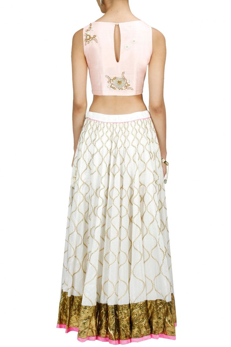 TISHA SAKSENA Blush zardosi and pearl embroidered crop top available only at Pernia's Pop-Up Shop.