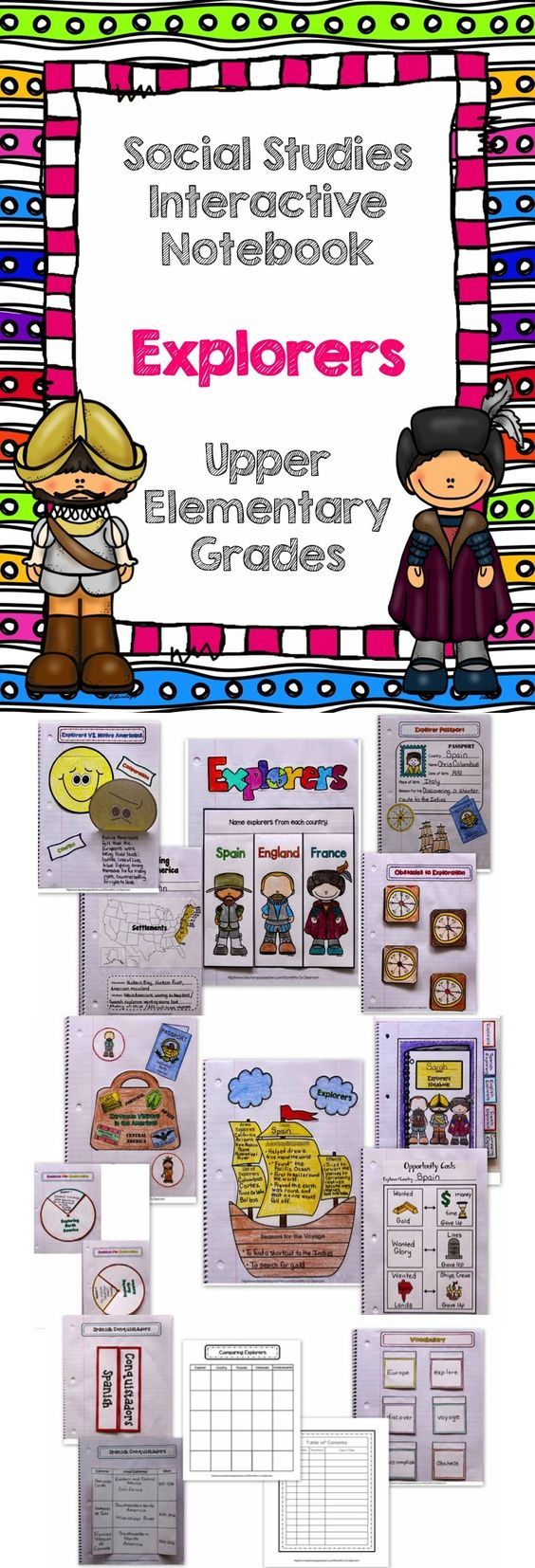 Student Activity: Students will create an interactive biography notebook where they will write about the different explorers. They will will do this over about a months time span.  Standard: SS3H2 Describe European exploration of North America. b. Describe the accomplishments of: John Cabot (England), Vasco Nunez de Balboa (Spain), Hernando de Soto (Spain), Christopher Columbus (Spain), Henry Hudson (the Netherlands), and Jacques Cartier (France).  Grade Level: 3rd
