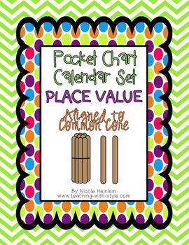 This set is perfect if you have a little, blue pocket chart for a classroom calendar!Teach place value in a fun way!Included in this set:*Place Value popsicle stick calendar cards for 1-31.  Color of cards follow a repeating pattern.*Place Value sign to post next to your calendar and keep track of the tens and ones each day. *Practice pages to help enforce the place value grid and also expanded form.*Place value song: Thats How Place Value Goes.