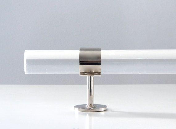 "1.37"" DIA ( 53"" - 96"") NICKEL or BRASS Lucite Custom Curtain Rod- w/ 3 Brackets"