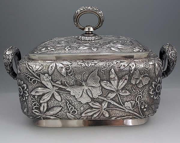 Dominick and Haff aesthetic period sterling silver tureen, with high relief chasing depicting foliage and butterflies - New York, c1881 (Britannia Silver)