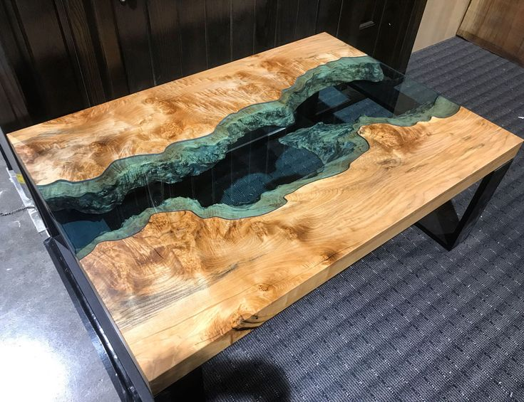 Handmade resin filled  solid wood table - so beautiful!