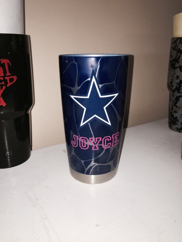 Dallas Cowboys with pink name and silver swirl Yeti cup Lonestar Concepts & Design lonestarjess15@yahoo.com