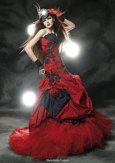 sexy red and black long wedding dress
