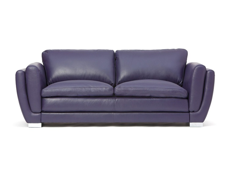 Full leather sofa mezza purple items for my purple for Purple leather sofa