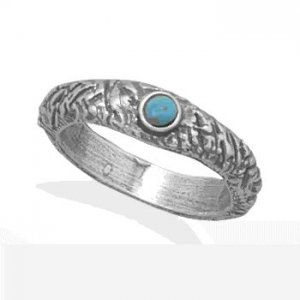 Textured Band Ring With Turquoise        Price: $59.95