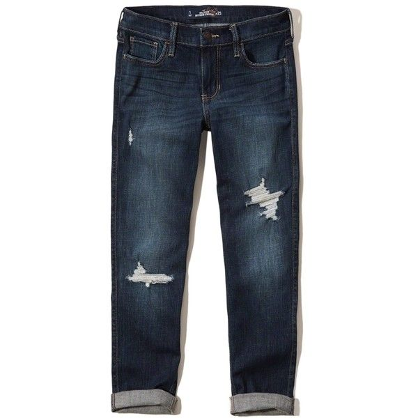 Hollister Boyfriend Straight Jeans ($24) ❤ liked on Polyvore featuring jeans, destroyed dark wash, straight-leg jeans, distressed jeans, dark-wash jeans, torn boyfriend jeans and destroyed jeans