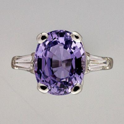 Vintage 5.08ct Rare Lavender Purple Sapphire Art Deco Platinum Diamond Ring | eBay