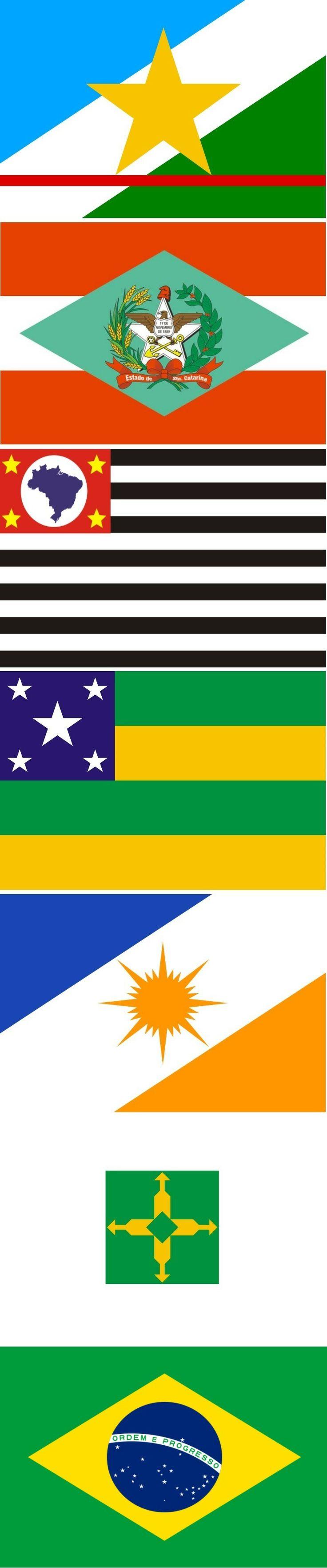 Flags of the states of Brazil: RORAIMA-SANTA CATARINA-SÃO PAULO-SERGIPE-TOCANTINS-DISTRITO FEDERAL - BRASIL