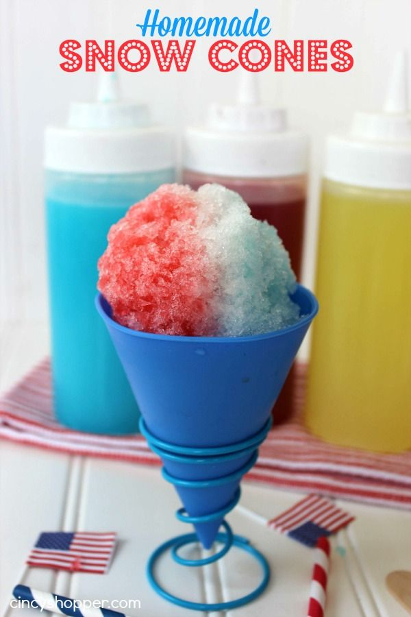 Homemade Snow Cones Recipe. So easy and inexpensive. A Great treat all summer long. We are planning them for our July 4th grill out.