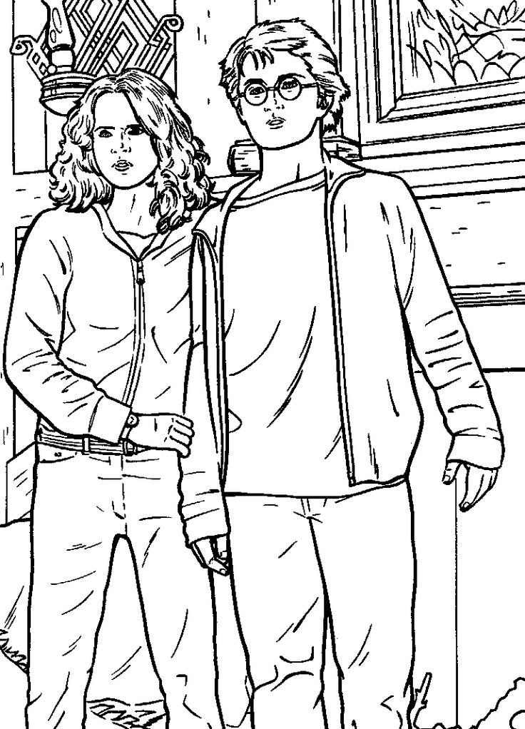 harry potter printable coloring pages. Hermione and Harry  HQ harry potter printable coloring pages Coloring Pages 92 best Potter images on Pinterest