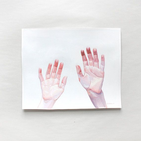 8x10 gouache painting  Two Hands by ElizabethMayville on Etsy