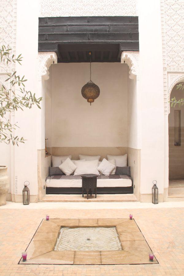 riad azzouna 13. marrakech. Patio con decoración marroquí. Moroccan riad. moroccan decoration. daramïna.es