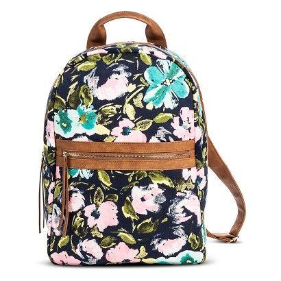 Women's Floral Print Backpack Handbag with Brown Trim - Navy