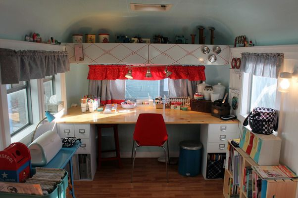 #FanDesign   HGTV fan, Becky, transformed her 1960 Streamline travel trailer into a crafting studio!  More photos of her fabulous workspace --> http://hg.tv/pz23: Vintage Trailers, Art Studios, Crafts Rooms, 1960 Streamlin, Crafts Storage, Travel Trailers, Crafts Trailers, Crafts Studios, Vintage Campers