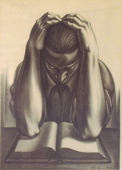 TOBIAS, Abraham Joel (1913-1996). The Reader.   New York: Works Progress Administration, 1935-43.   Lithograph. Image size (21 1/4 x 15 3/4 in; 54 x 40 cm). .