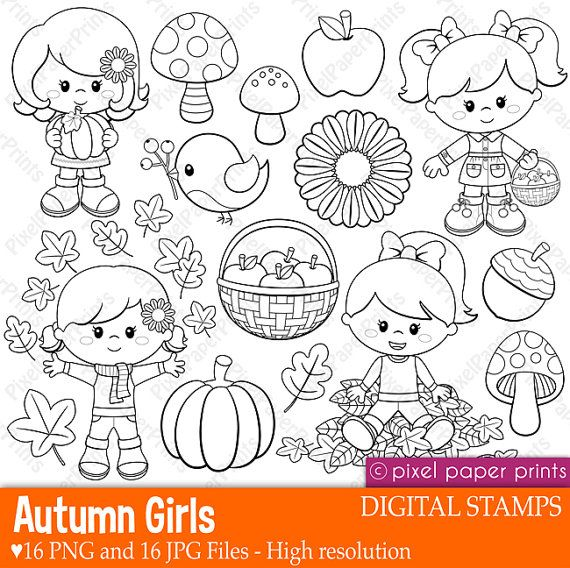 Autumn girls stamps - Digital stamps - Clipart