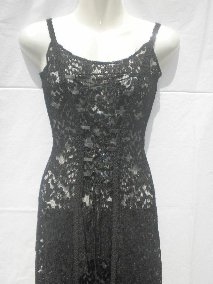 Vtg 90s Black Lace Goth Medieval High Low Witch Dress S The Black Rose London #TheBlackRose #Maxi #Clubwear