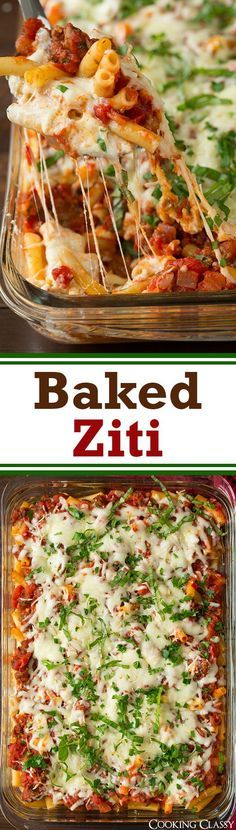 Baked Ziti - SO delicious! This is total comfort food! Like lasagna ...