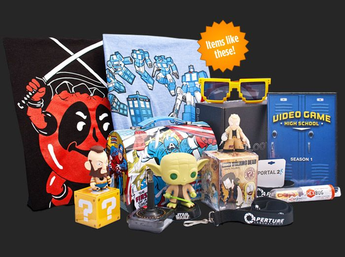 "Loot Crate - Great Gift Idea for Geeks & Gamers alike! $13.37 each + $6 s&h or discounted with subscription.  Use this link and code ""rev3"" for 20% off!"