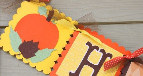 Pumpkin Fall Theme Happy Birthday Banner in Orange and Brown