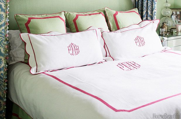 """Preppy Decor Style - House Beautiful You know your style is preppy when... #12 Your motto is """"when in doubt, monogram it."""""""