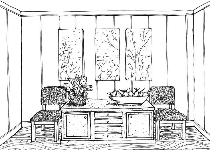 Two Point Perspective Drawing Interior