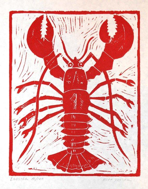 Lobster  Linocut Print by kirayustak on Etsy, $15.00