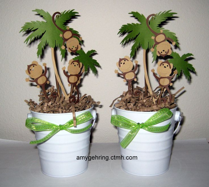 Monkey centerpieces used for baby shower; https://www.facebook.com/craftingwithamy