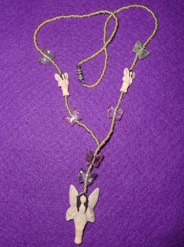 Sweetpea Pink and Green Fairy Necklace