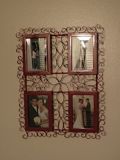 Make this frame w/ snips off the ends of cardboard paper towel holders and paint! recycle craft.