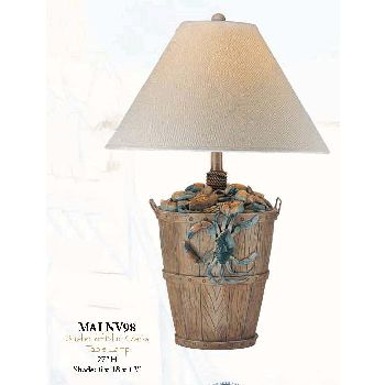 Bushel of Blue Crabs Table Lamp You'll love the uniqueness and coastal living style of this nautical table lamp.  The lamp's base which features a bushel of crabs has a rustic style with a sophisticated touch.  The top of the bucket has an abundance of crabs with one blue crab trying to escape as he dangles from the edge of the bucket.  There is nautical rope accenting for a coordinating nautical touch.       Bushel of Blue Crabs Table Lamp measures: 27