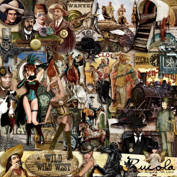 Wild Wild West by Rucola Designs #digitalcollage #digital #art #artjournaling #scrapbook #steampunk #western