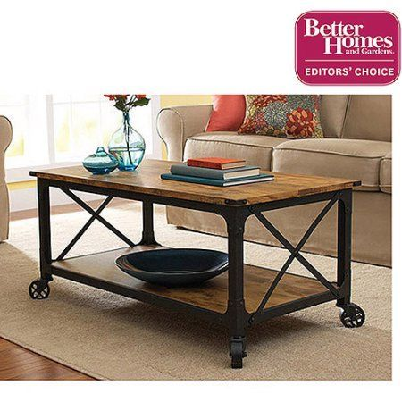Better Homes and Gardens Rustic Country Coffee Table, Antiqued Black/Pine Finish, Green