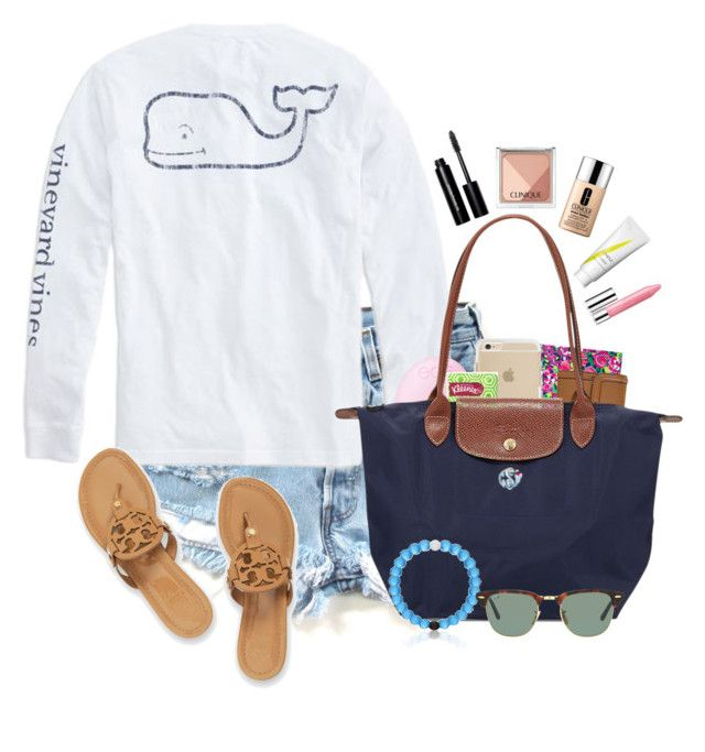 """""""Set 3// library """" by madelyn-abigail ❤ liked on Polyvore featuring Vineyard Vines, Tory Burch, Lilly Pulitzer, Eos, Longchamp, Ray-Ban, Bobbi Brown Cosmetics, Clinique and preppysummerbreak"""