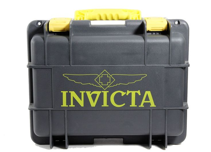 Invicta 8 Slot Sealed Protection Presentation Case Gun Metal Gray Yellow Accents #Invicta