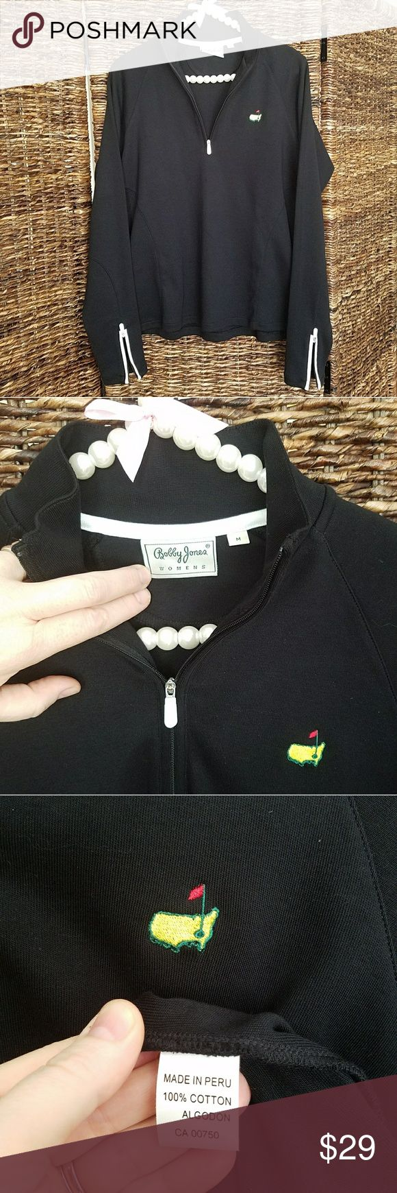 Bobby Jones women's pullover jacket Long sleeve athletic pullover, ribbed mock neck, 1/4 zip with zip sleeves in contrast white piping at wrists. 100% cotton, made in Peru.  Officially licensed with embroidered Augusta Masters golf graphic. A great layering piece on a windy or chilly day. Machine wash cold, dry flat.  No snags, stains or imperfections.  EUC, smoke free home. Bobby Jones Tops