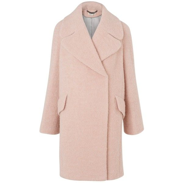 Whistles Penny Double Breasted Coat, Pale Pink ($330) ❤ liked on Polyvore featuring outerwear, coats, whistles coat, long sleeve coat, pink slip, leather-sleeve coats and pink coat