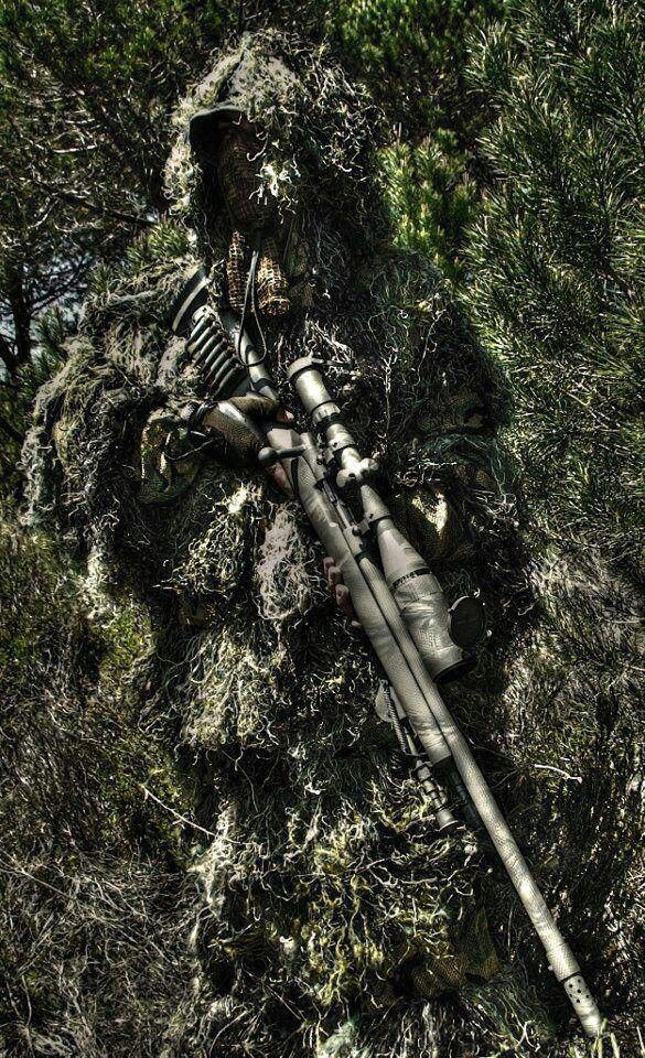 Ghillie suit sniper. Perfect camouflage for the long distance shot. @Thomas Marban Haight's Outdoor Superstore