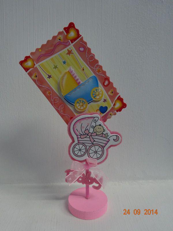 Porta tarjeta en country rosa para recordatorio de Baby Shower. #BabyShowerNinaCali #DecoracionesBabyShowerMedellin