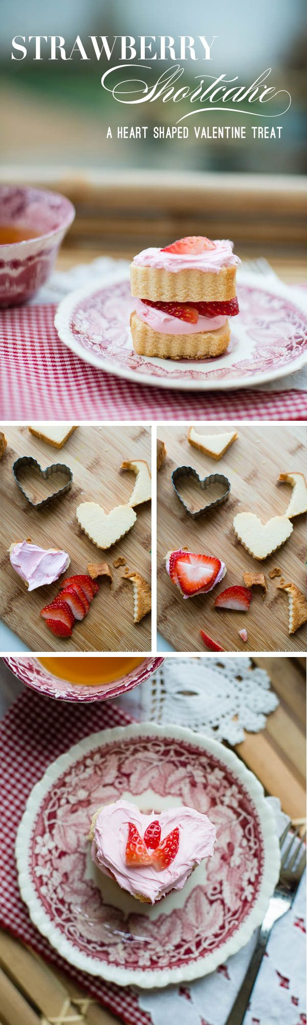 This easy no bake, heart-shaped Strawberry Shortcake recipe comes together in less than 10 minutes! I love a delicious pound cake Valentine dessert, especially when it's this cute! | Celebrating Everyday Life with Jennifer Carroll