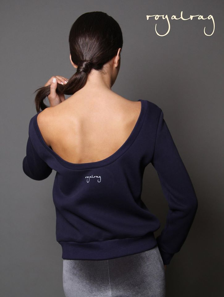 """""""Brunch"""" sweatshirt Soon available in dusky pink colour! #royalrag #newcollection #navyblue #duskypink #sweatshirt #openback #aw1415"""