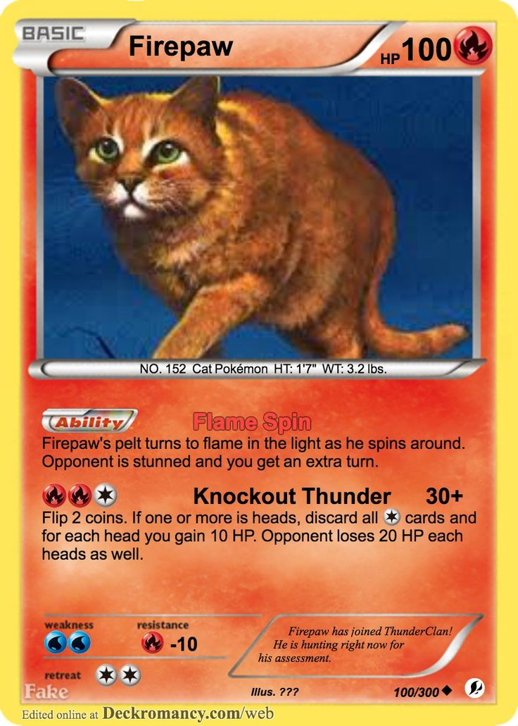Firepaw Pokemon Card Made By (Me) Warrior cats, Warrior